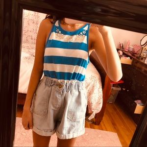 Trendy Blue Striped Top